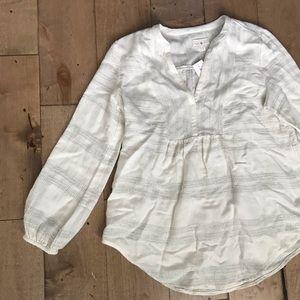 Lou & Grey Blouse Cream Shirt Top S